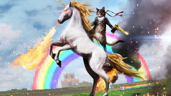 cat_with_a_gun_riding_an_unicorn